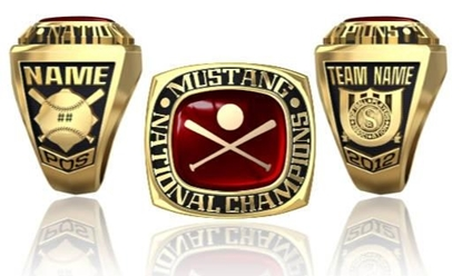 Picture of Mustang NIT Ring or Pendant w/Encrusted Crossed Bats & Ball