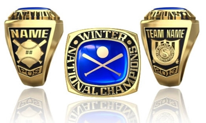 Picture of Winter Nationals Ring or Pendant w/Encrusted Crossed Bats and Ball